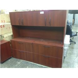 CHERRY 6' CREDENZA C/W HUTCH AND 6' PERSONAL STORAGE UNIT AND 3 DRAWER MOBILE PEDISTAL