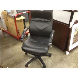 BLACK LEATHER CHROME FRAME HIGH BACK TILTER CHAIR