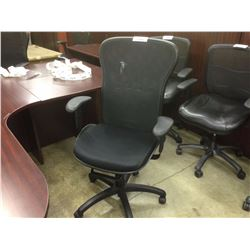 BLACK MESH HIGH BACK ADJUSTABLE ARM TASK CHAIR