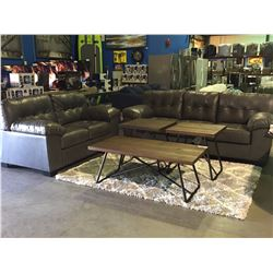 2 PIECE GREY LEATHER SOFA & LOVE SEAT SET