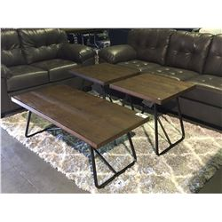 3 PIECE BROWN TOP WITH BLACK LEGS COFFEE & END TABLE SET