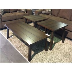 3 PIECE CONTEMPORARY BROWN WOODEN COFFEE & END TABLE SET
