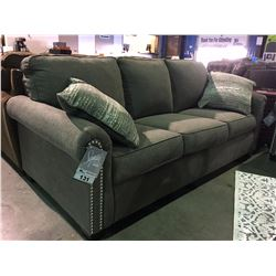 2 PIECE GREY UPHOLSTERED WITH CHROME STUD ACCENTS SOFA & LOVE SEAT SET