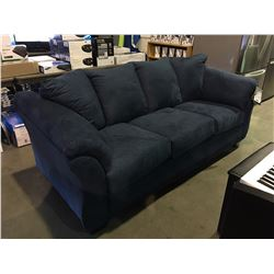 BLUE MICRO FIBER UPHOLSTERED 3 SEATER SOFA