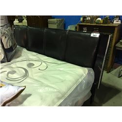 KING SIZE PADDED LEATHER & BLACK LACQUER  HEADBOARD WITH ROLLER FRAME