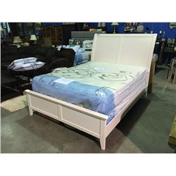 QUEEN SIZE WHITE BED - HEADBOARD, FOOTBOARD & RAILS ( MINOR CRACK BACKSIDE OF FOOTBOARD)
