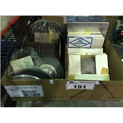 2 BOXES OF ASSORTED GRINDING WHEELS, WIRE & MISCELLANEOUS