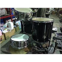 GROUP LOT-3 ASSORTED DRUMS, HIGH HAT & CYMBAL, 2 FOOT PEDALS, DRUM STICK & STAND