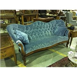 VICTORIAN MAHOGANY FRAMED SOFA WITH BLUE CRUSHED VELVET UPHOLSTERY