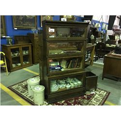 EARLY 1900'S MACEY QUARTER SAWN OAK BARRISTER STACKING BOOK CASE (4 SECTIONS WITH BOTTOM DRAWER)