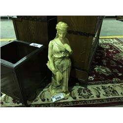 APPROX  2' TALL ALABASTER LADY STATUE (WAS ONCE A LAMP)