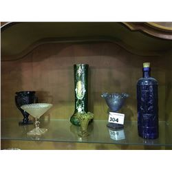 6 PIECES  OF ASSORTED VINTAGE ART GLASS