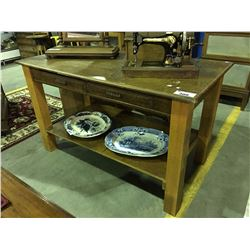 EARLY 1900'S 2 DRAW QUARTER SAWN OAK LIBRARY TABLE