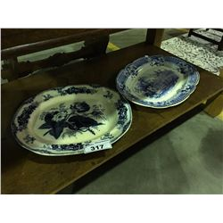 2 ANTIQUE BLUE & WHITE MEAT PLATTERS ( SOME DAMAGE PRESENT, CRACKS, CHIPS, CRAZING ETC)
