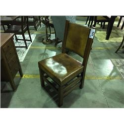 EARLY 1900'S MISSION  OAK  LEATHER UPHOLSTERED SIDE CHAIR