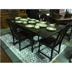 EARLY 1900'S DARK OAK REFECTORY DRAW LEAF DINING TABLE WITH 4 CHAIRS