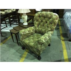 CHINTZ FLORAL PATTERN UPHOLSTERED CLAW FOOT ARM CHAIR