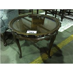 MAHOGANY CARVED SIDE TABLE WITH LIFT OFF GLASS SERVING TRAY