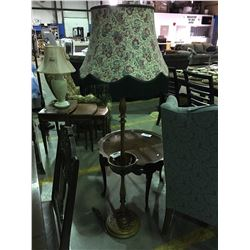 TURNED MAHOGANY FLOOR  LAMP WITH FLORAL SHADE