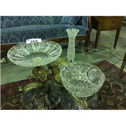 3 PCS VINTAGE HEAVY CUT CRYSTAL - 2 BOWLS & 1 VASE