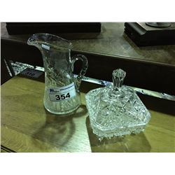 CRYSTAL WATER PITCHER  & CRYSTAL LIDDED CANDY DISH