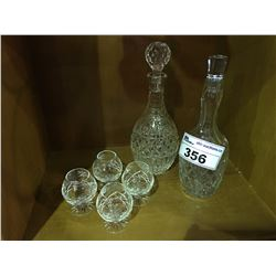 2 HEAVY CRYSTAL LIQUOR DECANTERS & 4 STEMWARE CRYSTAL GLASSES