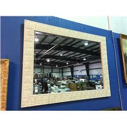 "PAINTED WHITE FRAMED BEVELED WALL MIRROR MEASURES 46 1/2"" X 34 1/2"""