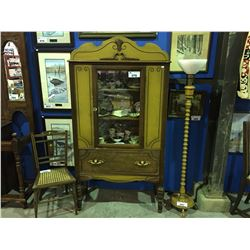 EARLY 1900'S GLASS FRONT WALNUT CHINA CABINET