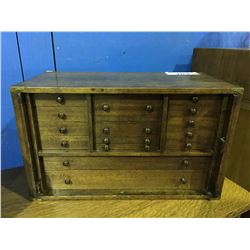 ANTIQUE MAHOGANY SMALL 15 DRAWER COIN/KEEPSAKE CABINET