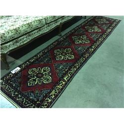 HAND KNOTTED PERSIAN AREA RUG, RUNNER APPROX 2 1/2' X 10'