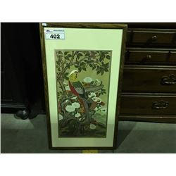 """FRAMED ORIENTAL PRINT SIGNED BY ARTIST MEASURES 31"""" X 17 1/2"""""""