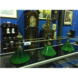 CIRCA 1900 BRASS GAS POWERED BILLIARDS TABLE LIGHT ( HAS BEEN CONVERTED TO ELECTRIC)
