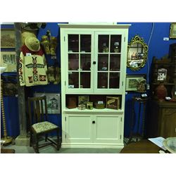 EARLY 1900'S LIBRARY CABINET (HAS BEEN PAINTED  MODIFIED WITH LIGHTS & GLASS SHELVES)
