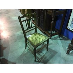 ANTIQUE INLAND SIDE CHAIR WITH CANE RATTAN SEAT