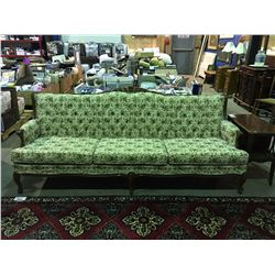 FRENCH PROVINCIAL 3 SEATER FLORAL UPHOLSTERED SOFA