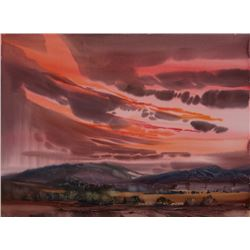Laurence Philip Sisson | Mountain Landscape with Orange and Pink Sky