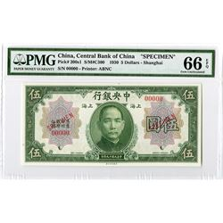Central Bank of China, 1930 Specimen Banknote.