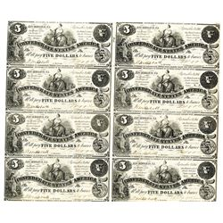 Confederate States of America, September 2nd, 1861, $5 Uncut Sheet of 8 Notes.