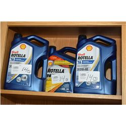 Three 5 litre jugs of Shell Rotella T6 synthetic extreme temperature 0W-40 engine oil- AUCTION HOUSE