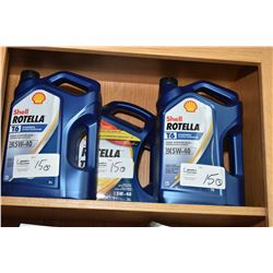 Three 5 litre jugs of Shell Rotella T6 synthetic extreme temperature 5W-40 engine oil- AUCTION HOUSE