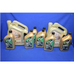 Selection of 5W-20 motor oil including two 4.4ltr. Castrol Edge and seven 1ltr. Quakerstate full syn
