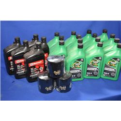 Twenty litres of 5W-30 oil including Quakerstate and Motorcraft plus three Napa Gold 7899 oil filtre