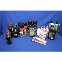 Large selection of unopened miscellaneous shop supplies including compression oil, brake fluid, disc