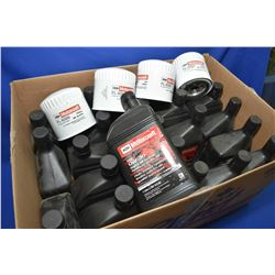 Twenty three 1 ltr. jugs of Motorcraft 0W-30 Synthetic motor oil and four Motorcraft FL-820S oil fil
