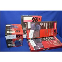 Four K&N rechargable air filters including E-0995, #735-4336, #33-2248 and #33-2047 plus Airaid Prem