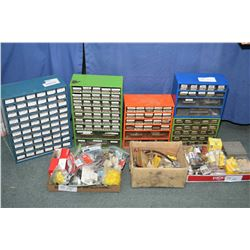 Large selection of shop hardware including fuses, electrical connectors, woodriff keys, panel retain