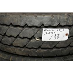 Michelin XZY3 tire, 12R 24.5, appears slightly used- AUCTION HOUSE WILL NOT PROVIDE SHIPPING FOR THI