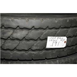 Michelin XZY3, 11R 24.5 tire, appears slightly used- AUCTION HOUSE WILL NOT PROVIDE SHIPPING FOR THI
