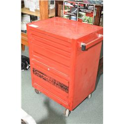 Snap-On rolling cabinet containing instruments including Snap-On Modis EEMS300 with adapters, Snap-O