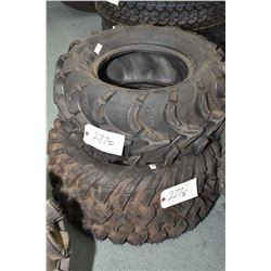 Two mismatched brand new ATV tires including ITP Mudlite 25 X 1.00-12 and ITP Terra Cross R/T 26 X 1